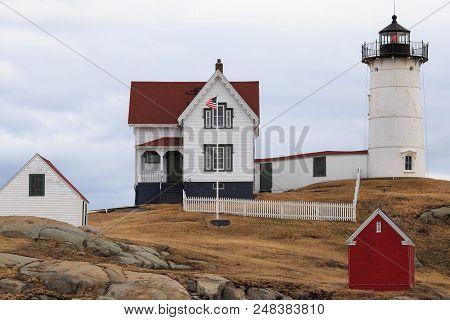 Cape Neddick Lighthouse On Cloudy Day On Maine Coast