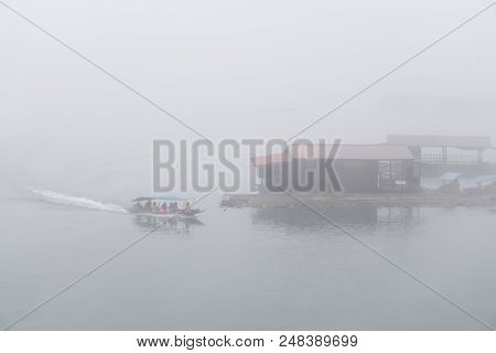 Transport People Touris With Boat On River With Clouds In The Morning, Relax Time On The Holiday