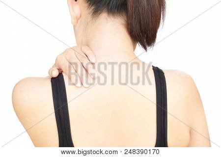Closeup Woman Hand Holding Neck Or Shoulder With Pain On White Background, Health Care And Medical C