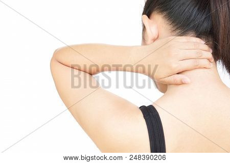 Closeup Woman Hand Holding Neck With Pain On White Background, Health Care And Medical Concept