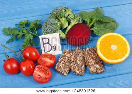 Nutritious food as source vitamin B9, dietary fiber, folic acid and natural minerals, concept of healthy lifestyles poster