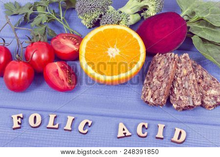 Nutritious fruits and vegetables containing vitamin B9, dietary fiber, natural minerals and folic acid, concept of healthy nutrition poster