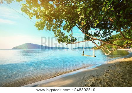 A Tree With A Swing On The Shore Of A Tropical Beach. A Gentle Dawn On The Sea Shore. Relax In The J