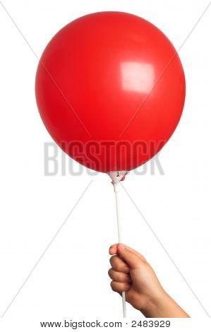 Holding Red  Balloon