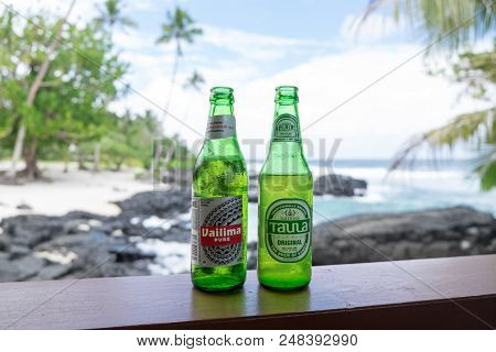 Upolu Island, Samoa - October 28, 2017: Vailima And Taula Are Two Beer Brands Brewed In Western Samo