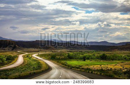 Beautiful Scenery Along A Winding Road In Utah.