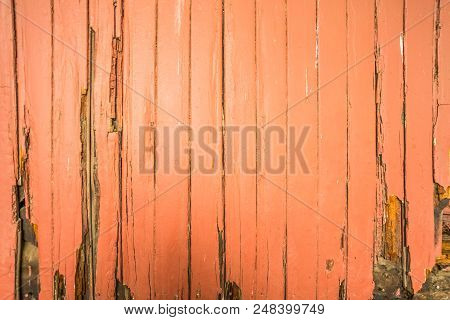 Painted But Rotted Wooden Slats On A Train Wagon.