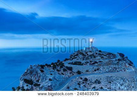 Majorca Mallorca Cap Formentor Twilight Mediterranean Sea Balearic Islands Spain Copyspace Travel
