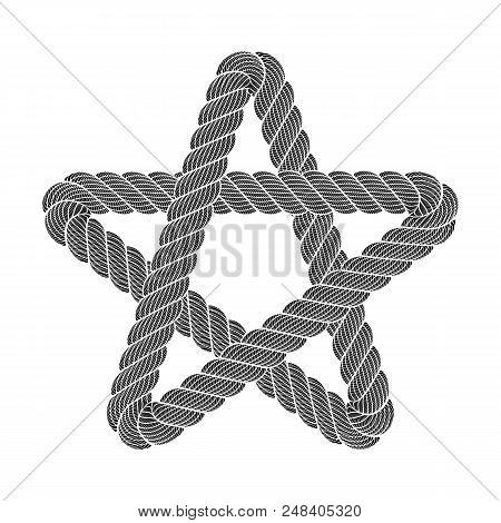 Star Clasic Rank Favorite Ui Logo. Simple Illustration Of Rope Realistic Detailed Weaving Star Symbo