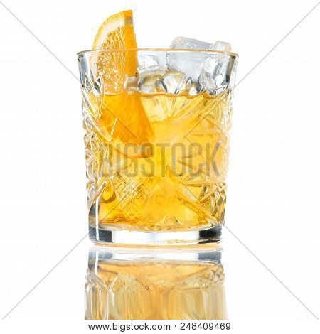 Alcohol Cocktail Godfather With Ice Isolated On White Close-up
