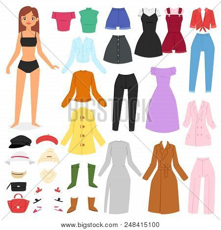 Clothes Woman Vector Beautiful Girl And Dress Up Or Clothing With Fashion Pants Dresses Or Shoes Ill