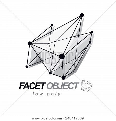 Abstract 3d Polygonal Wireframe Object, Vector Geometric Low Poly Design Element. Technology Corpora