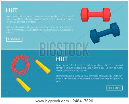 Hiit Skipping Rope And Dumbbells Pair Color Card, Blue And Red Barbells, Red Twisted Jumping Rope Wi