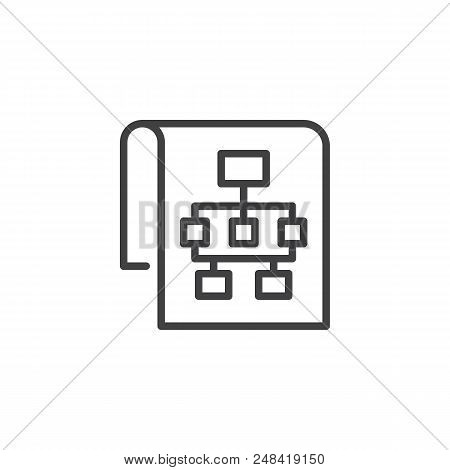 Sitemap Outline Icon. Linear Style Sign For Mobile Concept And Web Design. Flow Chart Simple Line Ve