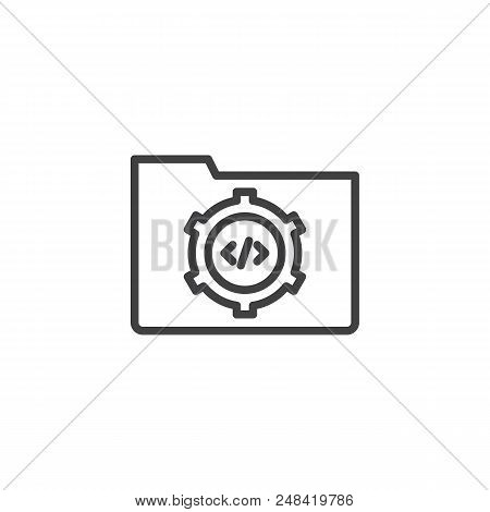 Folder Settings Outline Icon. Linear Style Sign For Mobile Concept And Web Design. Coding Folder Sim