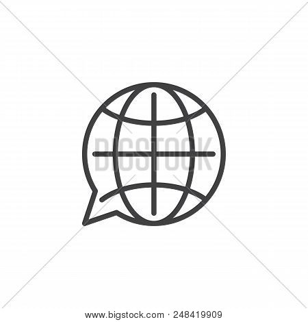 Translation Globe Outline Icon. Linear Style Sign For Mobile Concept And Web Design. Language Choose