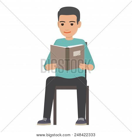 Young Man Reading Textbook. Brunette Male Student Seating On Chair With Book In Hands Flat Vector Is