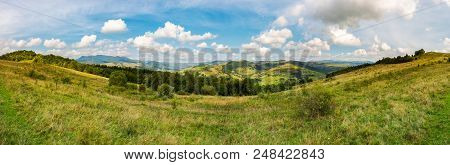 Panorama Of Mountainous Transcarpathia Countryside. Beautiful Autumnal Landscape. Gorgeous Cloudscap
