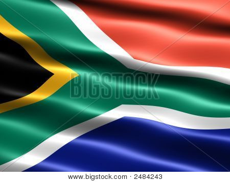 Flag of South Africa computer generated illustration with silky appearance and waves poster