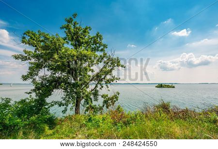 Island On The Lake Zemplinska Sirava. Beautiful Landscape Of Slovakia. Calm Summer Day With Beautifu