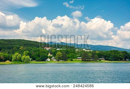 Shore Of Zemplinska Sirava, Slovakia In Summer. Beautiful And Calm Scenery Of One Of The Largest Slo