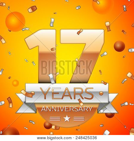 Realistic Seventeen Years Anniversary Celebration Design Banner. Gold Numbers And Silver Ribbon, Bal