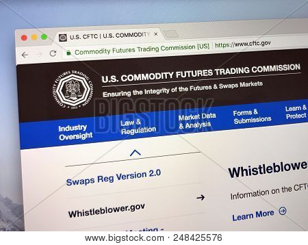 Amsterdam, The Netherlands - July 7, 2018: Official Website Of The U.s. Commodity Futures Trading Co