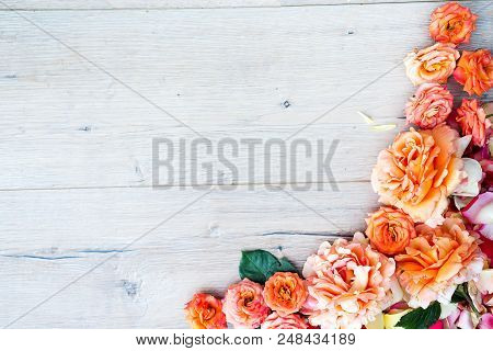 Framework From Roses On Gray Wooden Background. Flat Lay With Copy Space. Flowers Pattern Texture