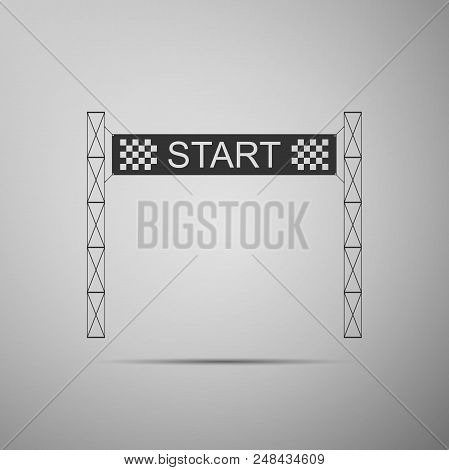 Starting Line Icon Isolated On Grey Background. Start Symbol. Flat Design. Vector Illustration