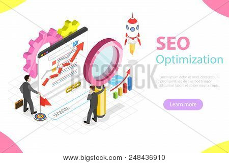 Flat Isometric Vector Concept Of Search Engine Ranking, Web Analytics, Seo, Website Optimization Mar
