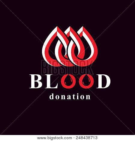 Blood Donor Inscription Isolated On White. Vector Red Blood Drops. Save Life And Donate Blood. Medic