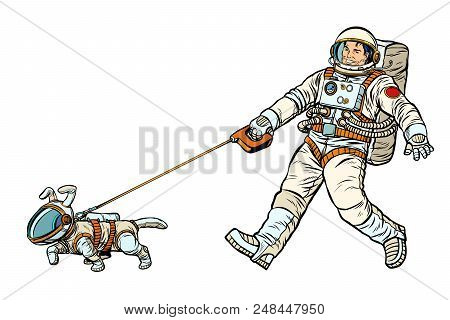 Astronauts Man And Dog Isolated On White Background. Pop Art Retro Vector Illustration Kitsch Vintag