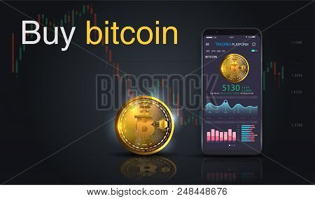 Buy Bitcoin. Online Crypto Payment Concept. Smartphone With Golden Coin, Button Buy. Pay Per Click B