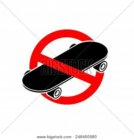 Stop Skateboard. No Skateboarding. It Is Forbidden To Ride On Board. Red Prohibitory Sign. Ban Vecto