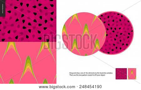 Food Patterns, Summer - Fruit, Dragonfruit Texture - Two Seamless Patterns Of Pink Dragonfruit Rind