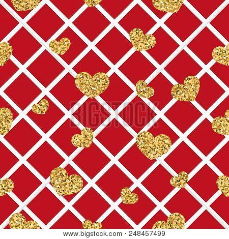 Gold Heart Seamless Pattern. Red-white Geometric Decoration, Golden Confetti-hearts. Symbol Of Love,