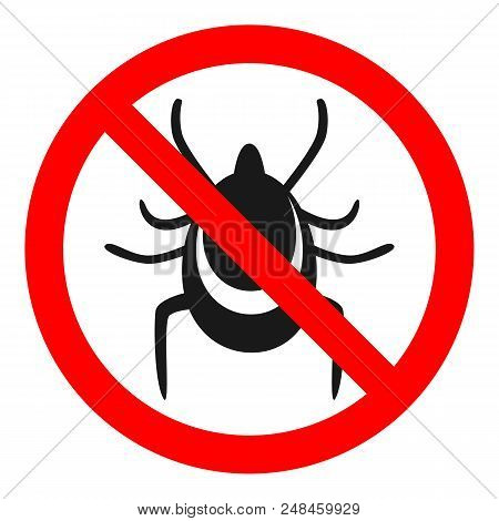 TICKS FREE ZONE sign. Vector. Isolated on white background.