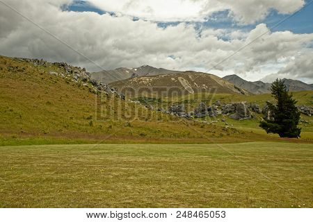 Landscape New Zealand - Arthurs Pass, Southern Alps, South Island, the highest altitude village, river with waterfalls. poster