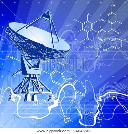 satellite dishes antenna (doppler radar), digital wave chemical formulas & blue technology background. Bitmap copy my vector ID 29591779