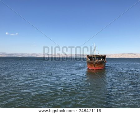 Tiberias, Israel - June 19, 2018: Sea Of Galilee Tour Boat. The Boats Take Tourists On A Tour Of The