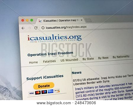 Amsterdam, The Netherlands - July 7, 2018: Website Of Icasualties.org, Formally The Iraq Coalition C