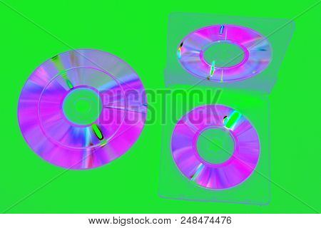 Image In Complementary Colors Tones : Double-sided Plastic Box For Mini Cds, Open. Iridescent Compac