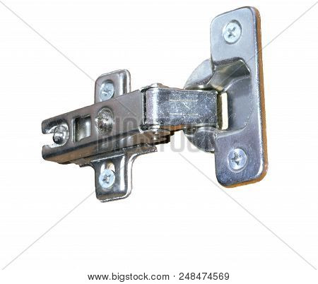 Overlay Concealed Adjustable Metal European Hinge With Four-point Mount For Furniture Isolated Close