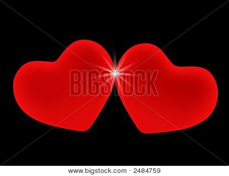 Two 3D Red Hearts, Leant To Each Other