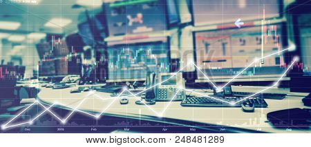Double Exposure Of Business Stock Trading Room With Computer And Graph For Business Trading Concept.