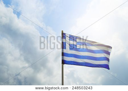 Sun Blue White Greek Flag Summit Acropolis Athens Greece. Cross Symbolizes Greek Orthordox Chritiian