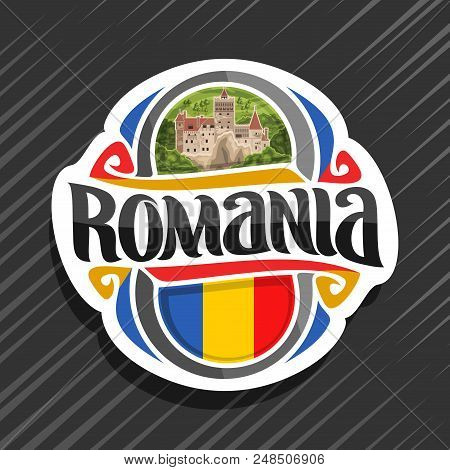Vector Logo For Romania Country, Fridge Magnet With Romanian State Flag, Original Brush Typeface For