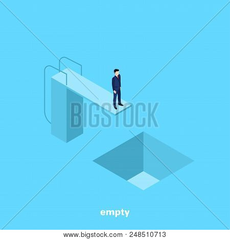 A Man In A Business Suit Is Standing On A Tower For Jumping Into The Water And Below Him Is An Empty