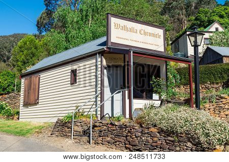 Walhalla, Australia - October 17, 2015: Former Office Of The Defunct Walhalla Chronicle Newspaper In