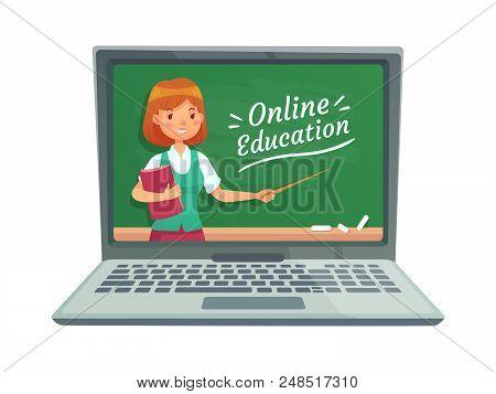 Online Education With Personal Teacher. Professor Teach Computer Technology Webinar Seminar Internet